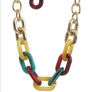 Multi color chain link necklace set